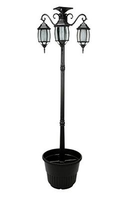 6.7 ft  Tall Solar Lamp Post and Planter 3 Heads - Black Pro