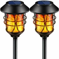 Tomcare Solar Lights Metal Flickering Flame Solar Torches Li