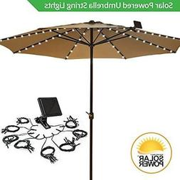 Umbrella Solar String Lights - Cool White 72 Total LEDs, 8 S