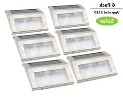 GMFive Upgrade 3 LED 6 Pack Outdoor Garden Solar Power Steel