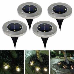 US 4X Disk Lights Solar Power LED Outdoor Lights Garden Stai