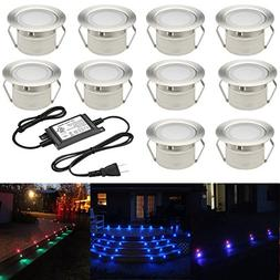FVTLED Low Voltage 10pcs Multi-color RGB LED Deck Lights Kit