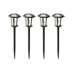 Water Glass Solar Path Lights, Set of 4, Black Metal Finish,