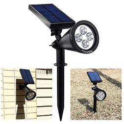 AGPtEK Waterproof 200 Lumens Solar LED Spotlight for Garden,