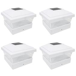 iGlow 4 Pack White Outdoor Garden 5 x 5 Solar LED Post Deck
