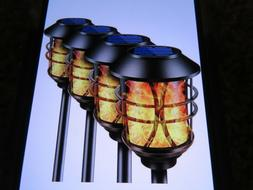Tomcare X0026086SL 2X 4 Pack 8 Total Metal Solar Torch Light